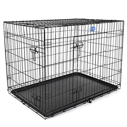 Songmics 2 Portes Cage pour chien pliable et transportable avec Poignées et Plateau noir 106 x 70 x 77,5 cm...