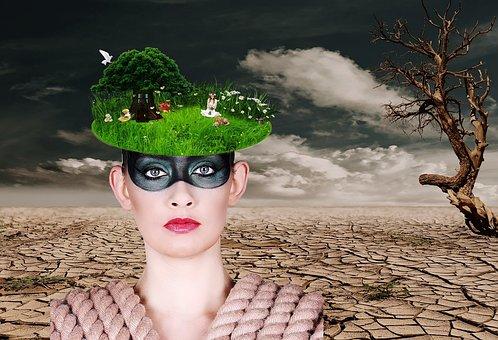 femme, désert, arbre irréfléchi