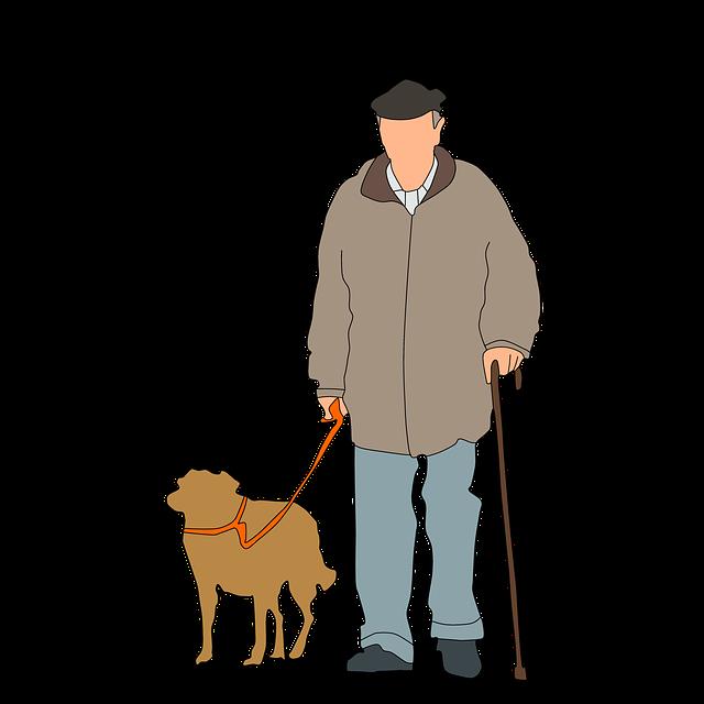 vieil homme, chien, à pied