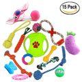 15-pack variété Chien Corde Jouets en peluche animaux pour chiens de petite et moyenne taille Comprend Bonus Dog Treat. Frisbee...