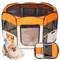 Kaka mall Parc Chiot Chaton Pliable pour Extérieur ou Intérieur Enclos Chien Chat(Orange)