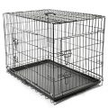 TRESKO® Cage de transport pliable pour Chiens 90x60x67cm, Chats, Chiots, Chatons et Animaux domestique, en métal, Cage chien, pliable, Caisse...